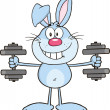 Smiling Blue Rabbit Cartoon Character Training With Dumbbells — Stock Photo #42404527