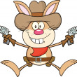 Cowboy Rabbit Cartoon Character Holding Up Two Revolvers — Stock Photo