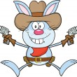 Cowboy Blue Rabbit Cartoon Character Holding Up Two Revolvers — Stock Photo