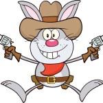 Cowboy Gray Rabbit Cartoon Character Holding Up Two Revolvers — Stock Photo #42404603