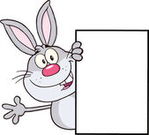 Cute Gray Rabbit Cartoon Character Looking Around A Blank Sign And Waving — Stock Photo