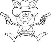 Black And White Cowboy Rabbit Cartoon Character Holding Up Two Revolvers — Stock Photo