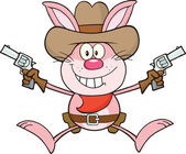 Cowboy Pink Rabbit Cartoon Character Holding Up Two Revolvers — Stock Photo