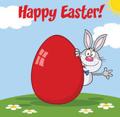 Happy Easter From Gray Rabbit Character Waving Behind Egg — Stock Photo