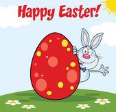 Frohe Ostern vom blauen Kaninchen Zeichen hinter Ei winken — Stockfoto