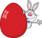 Cute Gray Rabbit Cartoon Character Waving Behind Easter Egg — Stock Photo