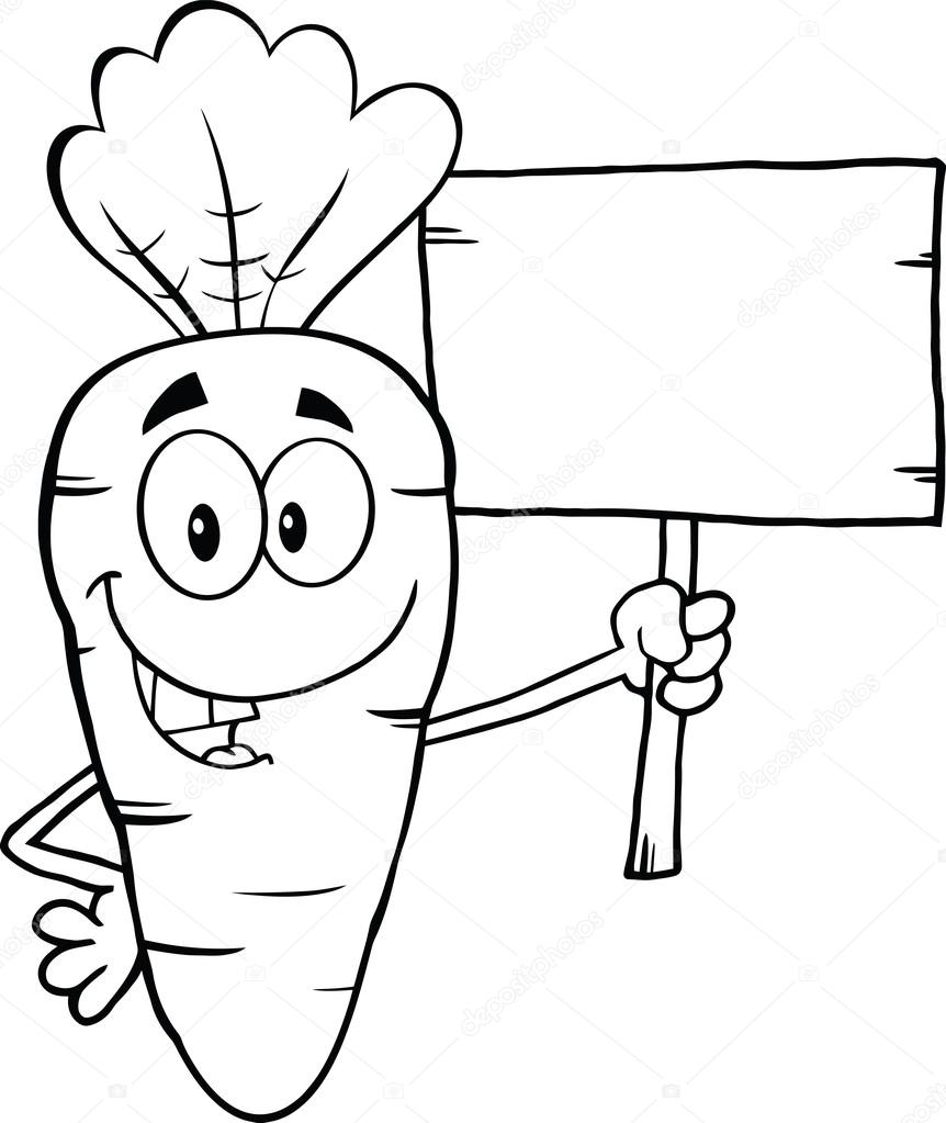Cartoon Characters Black And White : Black and white funny carrot cartoon character holding a