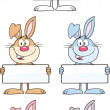 Rabbit Cartoon Character 11 Set Collection — Stock Photo