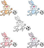 Rabbit Cartoon Character 10  Set Collection — Stock Photo