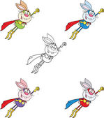 Rabbit Cartoon Character 14  Set Raster Collection — Stock Photo
