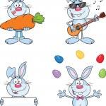 Cute Rabbits Cartoon Characters 6 Set Collection — Stock Photo