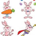 Cute Rabbits Cartoon Characters 13 Set Collection — Stock Photo