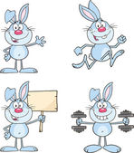 Cute Rabbits Cartoon Characters 8  Set Collection — Stok fotoğraf
