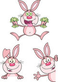 Cute Rabbits Cartoon Characters 15  Set Collection — Foto Stock
