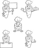 Black And White Carrot Characters 2  Set Collection — Stock Photo