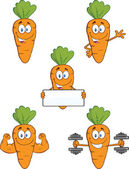 Carrot Cartoon Characters 1  Set Collection — Stock Photo