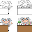 Funny Scientist Or Professor Different Poses 1 Collection Set — Stock Photo