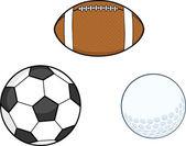 набор сбора различные спортивные мячи — Стоковое фото
