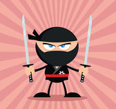 Angry Ninja Warrior Character With Two Katana Flat Design — Stock Photo