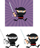 Angry Ninja Warrior Characters 5 Flat Design  Collection Set — Foto Stock