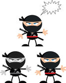 Angry Ninja Warrior Characters 2 Flat Design  Collection Set — Foto de Stock