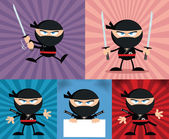 Angry Ninja Warrior Characters 4 Flat Design  Collection Set — Foto de Stock