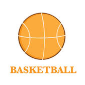 Abstract Basketball Over A White Background With Text Flat Design — Stock Photo