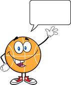 Happy Basketball Cartoon Character Waving With Speech Bubble — Stock Photo