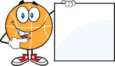 Happy Basketball Cartoon Character Showing A Blank Sign — Stock Photo