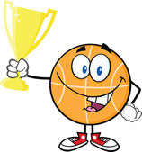 Happy Basketball Cartoon Character Holding Golden Trophy Cup — Stock Photo