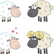 Funny Sheep Cartoon Characters 4  Collection Set — Stock Photo #43392561