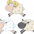 Funny Sheep Cartoon Characters 3  Collection Set — Stock Photo #43392567