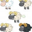 Funny Sheep Cartoon Characters 2  Collection Set — Stock Photo #43392569