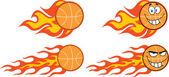 Flaming Basketball Cartoon Characters  Collection Set — Stock Photo