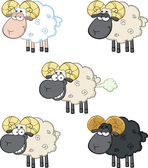 Funny Sheep Cartoon Characters 2  Collection Set — Stockfoto
