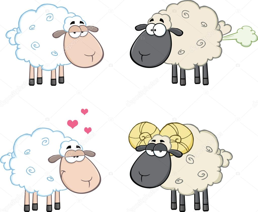 Funny Sheep Cartoon Characters 4 Collection Set