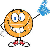 Smiling Basketball Cartoon Character With Foam Finger — Stock Photo