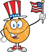 Happy Basketball Cartoon Character With American Patriotic Hat And USA Flag — Stock Photo