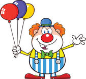 Funny Clown Cartoon Character With Balloons And Waving — Stock Photo