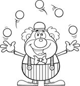 Black and White Funny Clown Cartoon Character Juggling With Balls — Stock Photo