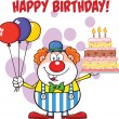 Happy Birthday With Clown Cartoon Character With Balloons And Cake With Candles — Stock Photo #43849403