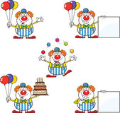 Funny Clown Cartoon Characters 2  Collection Set — Stock Photo