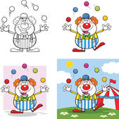 Funny Clown Cartoon Characters 4  Collection Set — Stock Photo