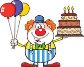 Birthday Clown Cartoon Character With Balloons And Cake With Candles — Stock Photo