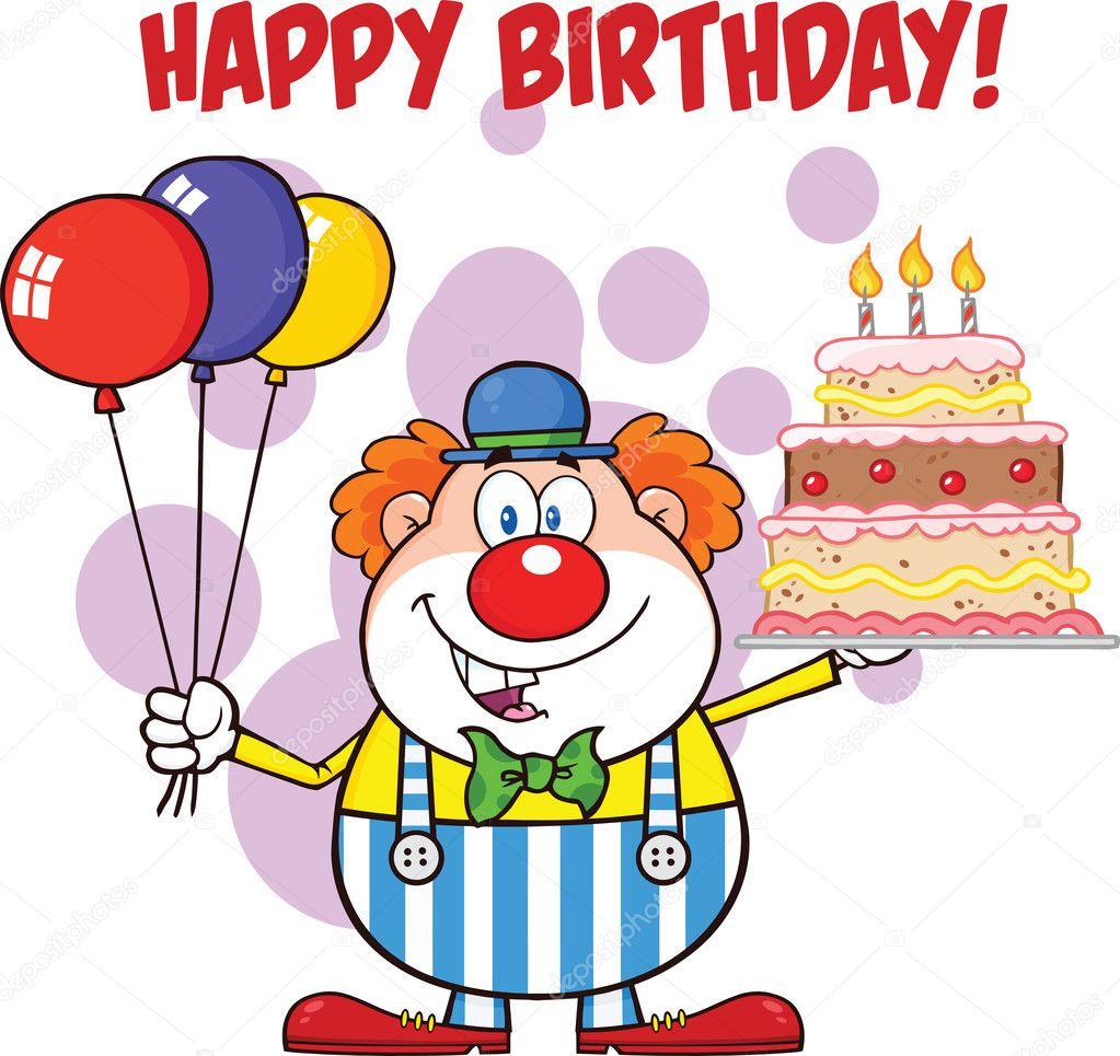 Buon compleanno con pagliaccio cartone animato