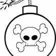 Black and White Cartoon Bomb With Skull And Crossbones — Stok fotoğraf