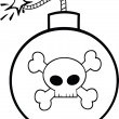 Black and White Cartoon Bomb With Skull And Crossbones — Stock Photo