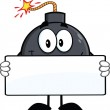 Funny Bomb Cartoon Character Holding A Banner — Stock Photo #44261963