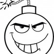Black and White Evil Bomb Cartoon Character — ストック写真