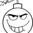 Black and White Evil Bomb Cartoon Character — Zdjęcie stockowe